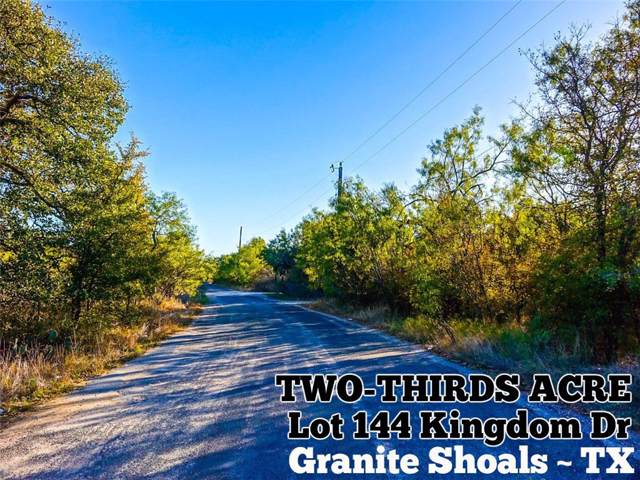 Lot 1144 Kingdom Dr, Granite Shoals, TX 78654 (#1121446) :: Kourtnie Bertram | RE/MAX River Cities