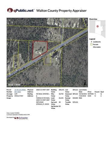 6483 Co Hwy 1087, Defuniak Springs, FL 32433 (MLS #870867) :: Classic Luxury Real Estate, LLC