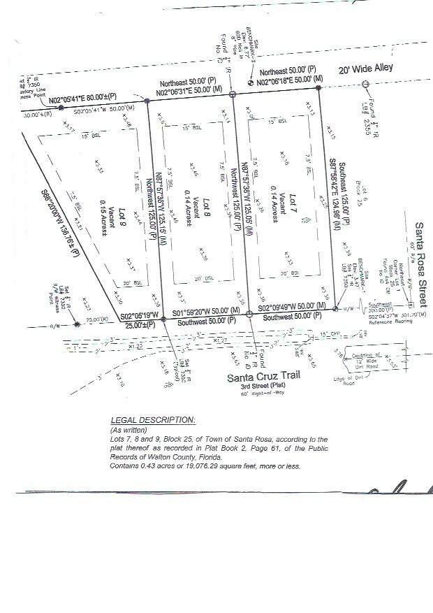 Lots 7,8,9 Santa Cruz Street, Santa Rosa Beach, FL 32459 (MLS #843486) :: RE/MAX By The Sea