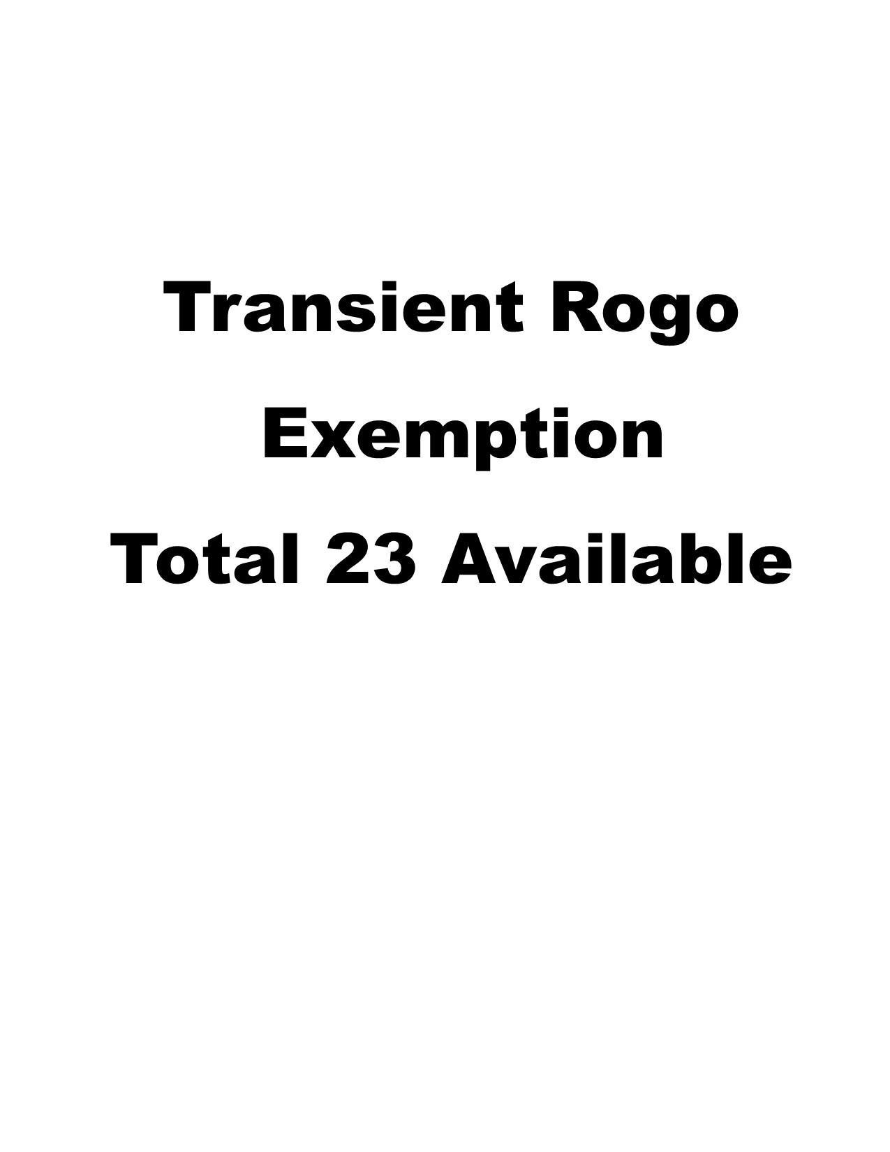 1 Transient Rogo Exemption - Photo 1