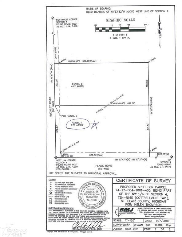 5.78 acres Mckinley, Cottrellville Twp, MI 48039 (#58031373829) :: NextHome Showcase