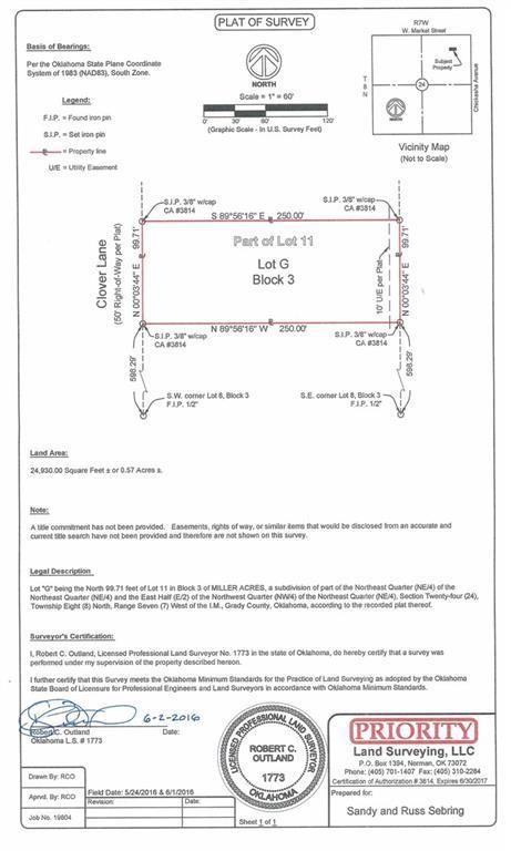 Lot G Block 3 Clover Lane, Amber, OK 73004 (MLS #813767) :: UB Home Team