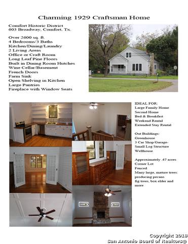 603 Broadway, Comfort, TX 78013 (MLS #1382581) :: NewHomePrograms.com LLC
