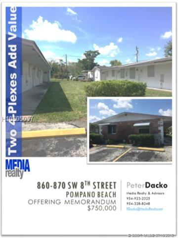 860 8th St 1-4, Pompano Beach, FL 33060 (MLS #H10505057) :: Green Realty Properties